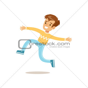 Boy In Sweater Jumping And Running, Traditional Male Kid Role Expected Classic Behavior Illustration