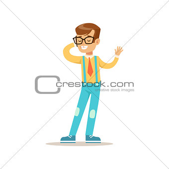 Boy In Glasses Speaking On The Phone, Traditional Male Kid Role Expected Classic Behavior Illustration