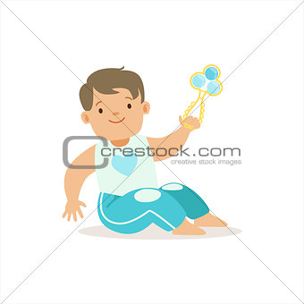 Boy In Blue Pants Playing With Shaker, Adorable Smiling Baby Cartoon Character Every Day Situation