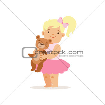 Blon Girl Standing WIth Teddy Bear, Adorable Smiling Baby Cartoon Character Every Day Situation