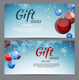 Christmas and New Year Gift Voucher, Discount Coupon Template Vector Illustration