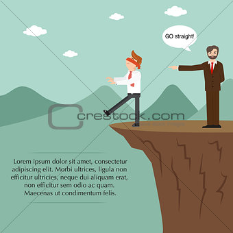 Businessman blindfolded and boss standing on the cliff