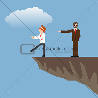 Blindfolded businessman is walking to the cliff