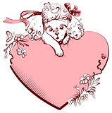 White Poodle Dog and heart symbol of love. Greeting card for valentines day