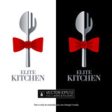 Restaurant logo fork and spoon shaped. Isolated vector icon.