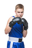 Young boxer sportsman in blue sport suit