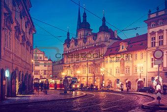 Czech Republic Prague square with old tram public transport