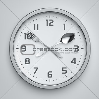 Fork and spoon clock on the wall