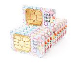Colorful SIM cards row stack