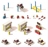 Vector isometric car service equipment set
