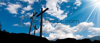 Crosses Silhouette against Blue Sky