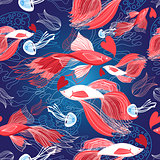 Seamless bright pattern lovers red fish