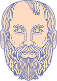 Plato Greek Philosopher Head Mono Line