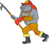 Bulldog Firefighter Pike Pole Fire Axe Drawing