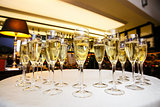 glasses with cool delicious champagne or white wine