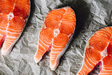 Salmon Steaks on Parchment Paper