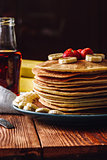 Homemade Pancakes with Maple Syrup and Fruits