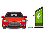 Electric car and filling station