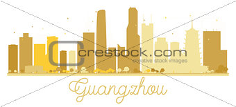 Guangzhou City skyline golden silhouette.