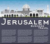 Jerusalem Skyline with Gray Buildings, Blue Sky and Copy Space.