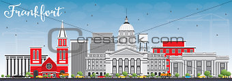Frankfort Skyline with Gray Buildings and Blue Sky.