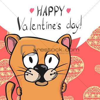 Cute valentine postcard