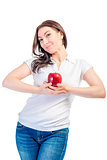 girl holding a ripe apple isolated