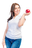 portrait of a girl with red ripe apples on a white background