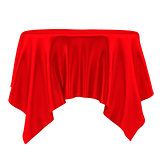Red tablecloth. Isolated