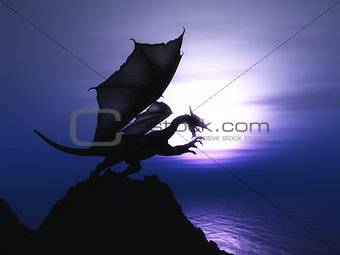 3D fantasy dragon against sunset ocean