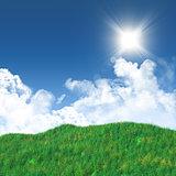 3D grassy landscape against a blue sky