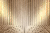 Wooden display background with spotlights