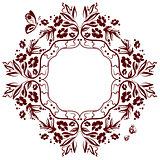 Monochrome frame floral ornament