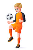 Vector young football or soccer player boy playing with ball.