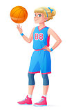 Vector cute little basketball player girl spinning ball on finger.