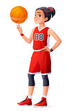 Vector young Asian basketball player girl spinning ball on finger.