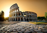 Colosseum and yellow sky