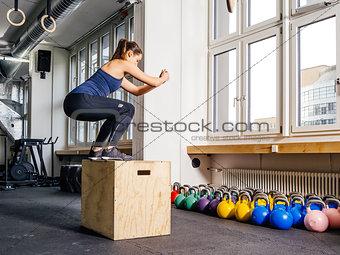 Box jump at the gym