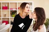 make-up artist doing make-up girl in the salon, beauty concept