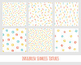 Set of seamless vector free hand multicolored baby doodle textures, dry brush ink art.