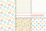 Set of seamless vector free hand multicolored baby doodle polka dot and circle textures, dry brush ink art.