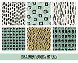 Set of seamless vector free hand doodle textures, dry brush ink art.