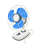 Desk air electric fan with button.