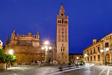 Giralda and Seville Cathedral at night, Spain