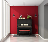 Music room with piano