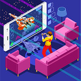 Computer Game Video Gaming Isometric Person Vector Illustration