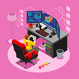 Computer Video Game Isometric Gaming People Vector Illustration