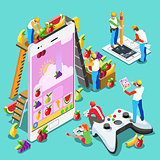 Computer Video Game People Gaming Isometric Vector Illustration