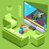 Console Video Game Icon Isometric People Vector Illustration
