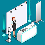 Exhibition 3D Booth Stand People Isometric Vector Illustration